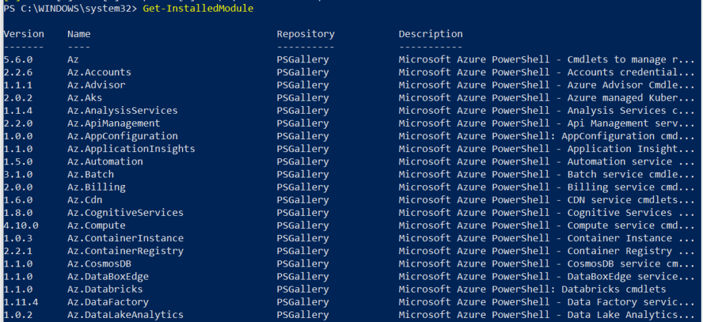 get-all-installed-module-powershell