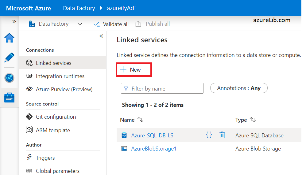 Author tab to create the linked service in azure data factory