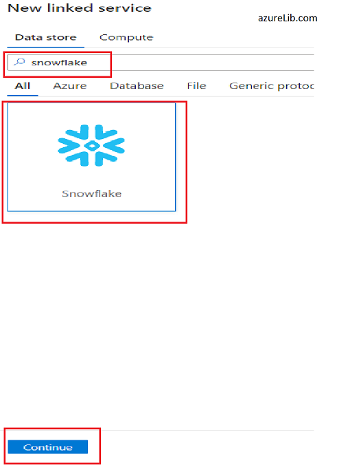 Searching for snowflake connector in data store