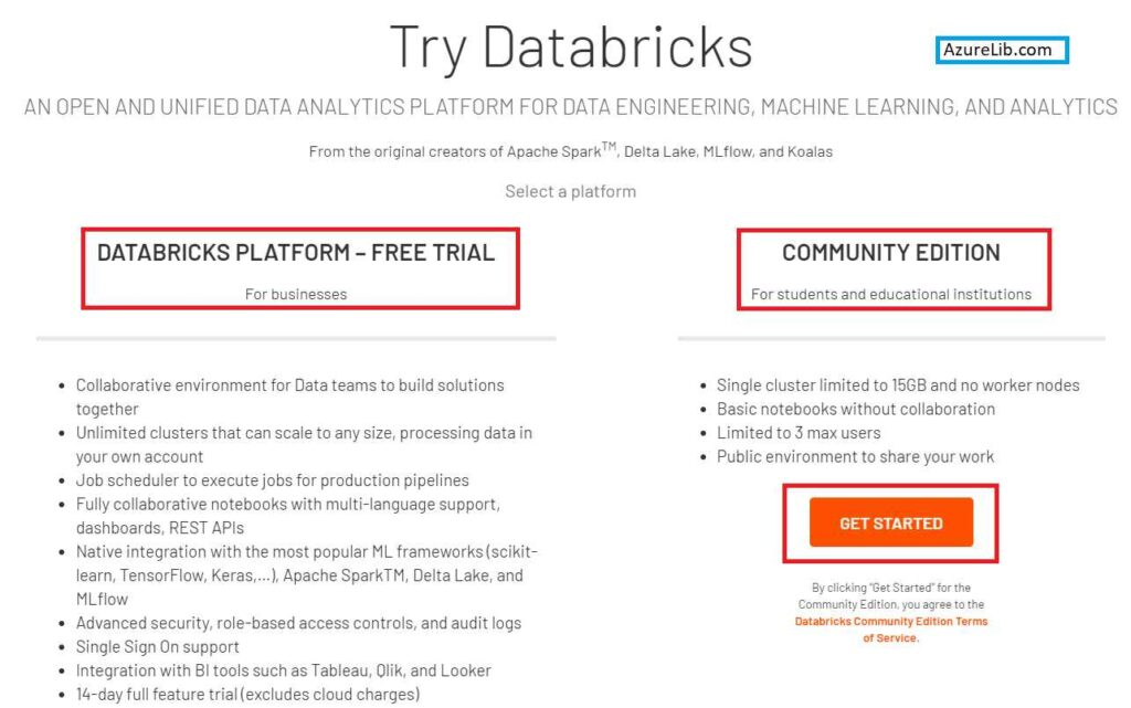 Databricks community edition Sign up confirmation Page