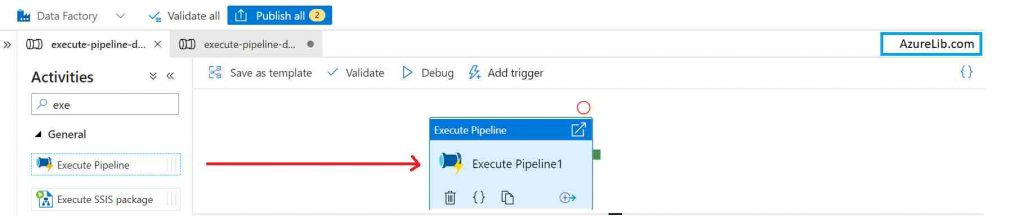 Add Execute pipeline activity in Azure Data Factory (ADF) pipeline.