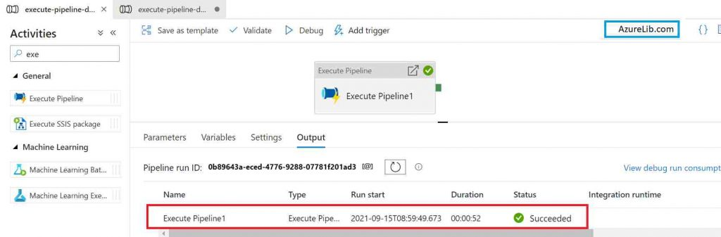 Successfully called the pipeline from another pipeline in Azure Data Factory (ADF)