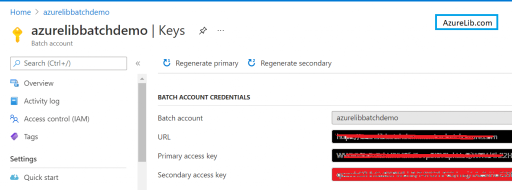 Get Keys and other details for Azure Batch account